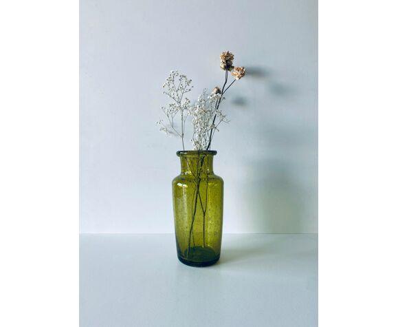 Vase en verre soufflé bullé
