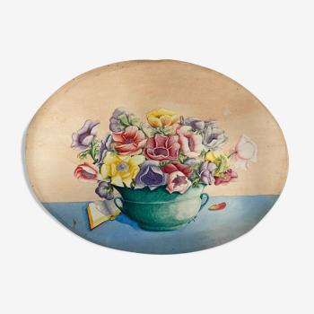 Aquarelle aux anémones vintage