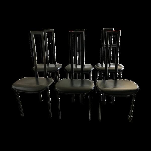 Chaises vintage cattelan italia cuir noir et métal