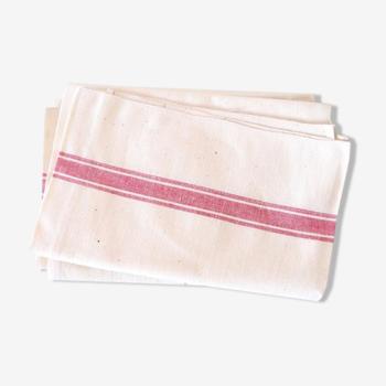 Set de 2 torchons en coton etl lin, lignes rouges, authentique, vintage, campagne