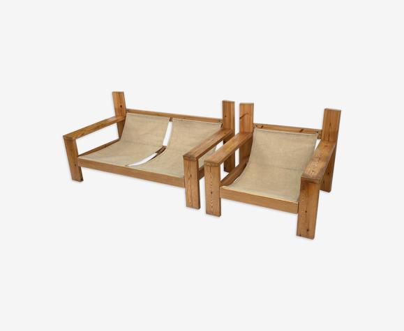 Ensemble canapé Safari vintage & fauteuil 70s design