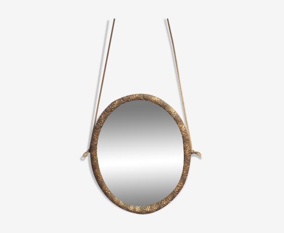 Miroir ovale ancien en chêne années 30/40 32, 5 X 26, 5 cm