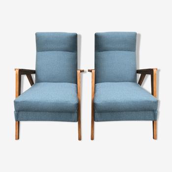Paire de fauteuils années 60 pieds compas