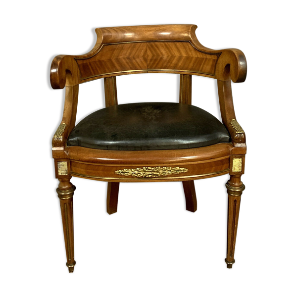 Fauteuil de bureau louis xvi parisien en acajou et bois de rose vers 1850