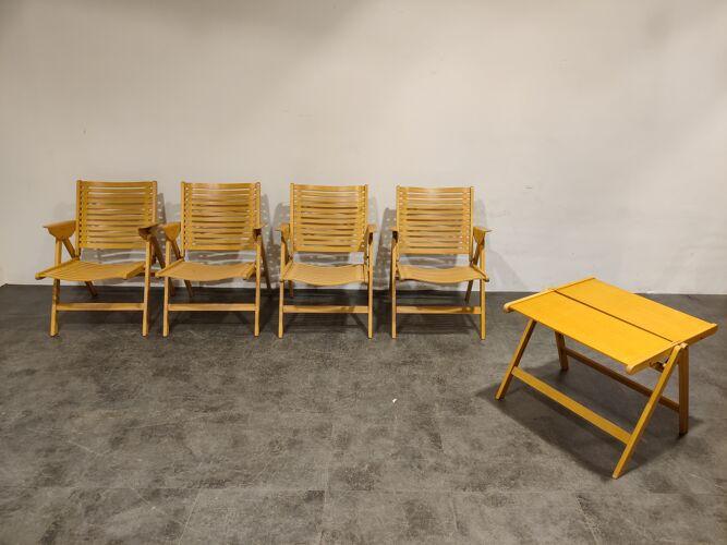 Ensemble de chaises pliantes Rex par Niko Kralj, années 1960