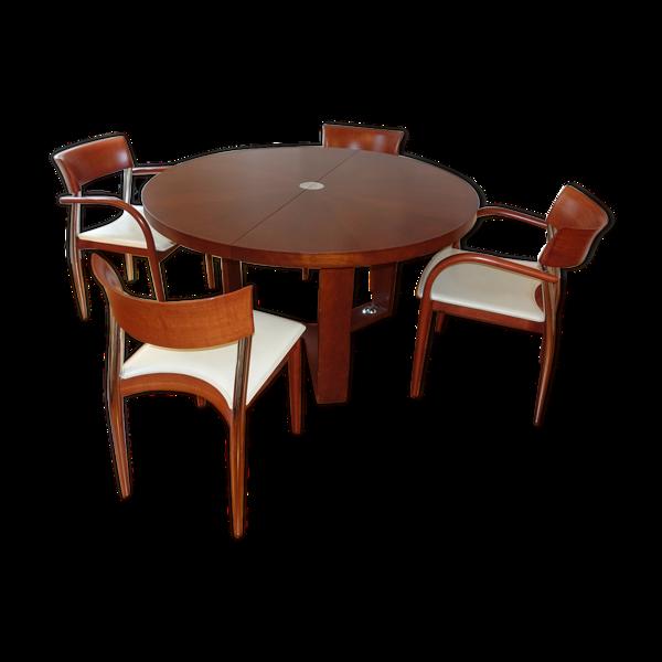 Table ronde à rallonge et ses 4 chaises