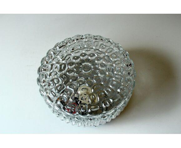 Plafonnier en verre métal et cristal millésime des années 1970