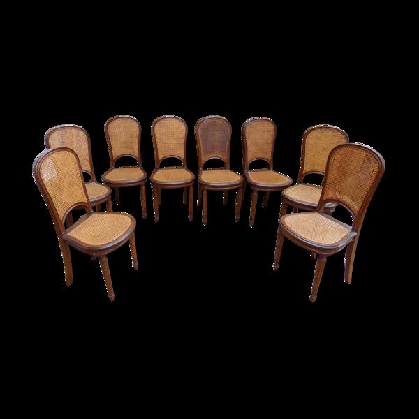 Lot de 8 chaises cabriolets style Louis XVI , cannées, dossier en raquette