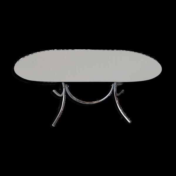 Table vintage chrome et verre fumé