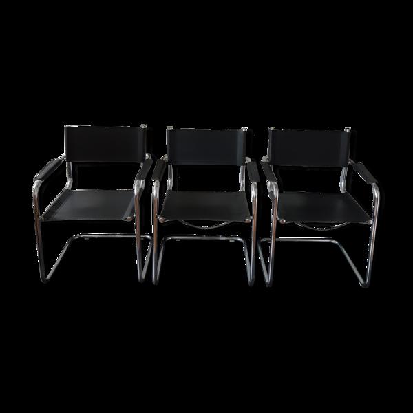 Lot de 3 fauteuils en métal et skai vintage