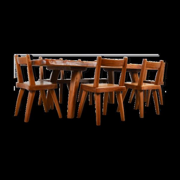 Selency Table de salle a manger en orme et six chaises en orme 1960S