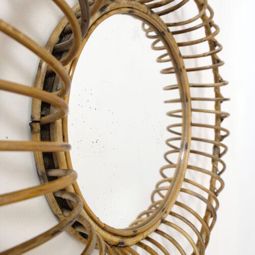 Miroir en rotin des années 60 47cm