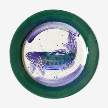 """Assiette """" poisson """" en céramique de Julie Ueland, années 90"""