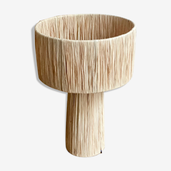 Lampe à poser de chevet minimaliste raphia