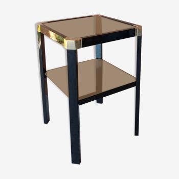 Table d'appoint Roméo REGA, métal laqué noir et  bronze doré,  2 plateaux en miroirs fumés. TBE