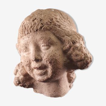 bust statuette sculpture terracotta style art deco 1930 little girl