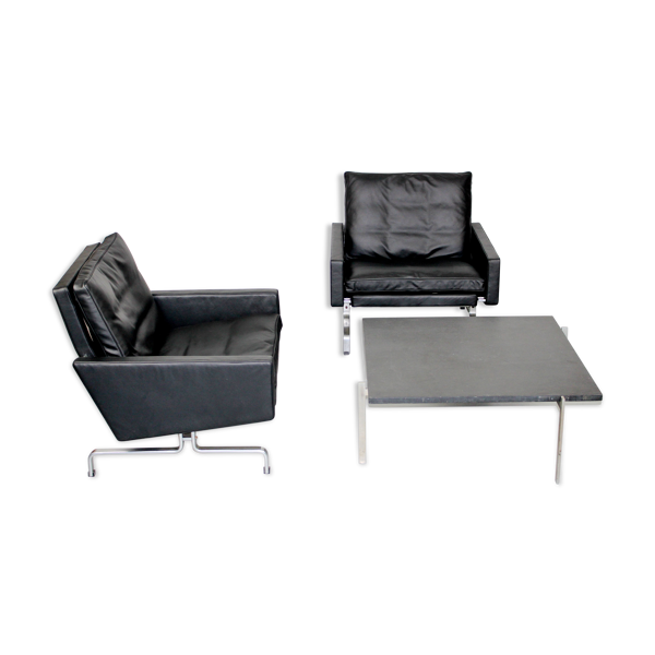 Selency Ensemble 2 fauteuils pK31/1 vintage  et une table PK61  de Poul Kjaerholm pour E. Kold Christensen