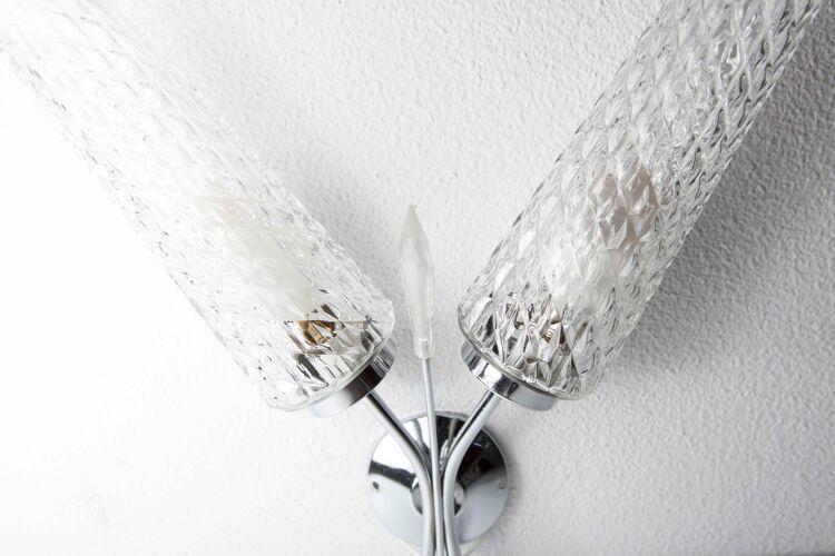 Applique double 1960 chrome et verre et pointe transparente