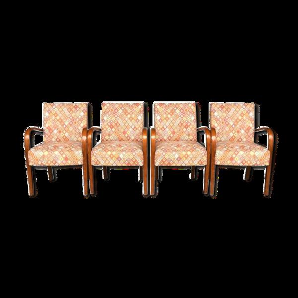 Série de 4 fauteuils bridge 1940 tissus aux petits carrés et hêtre