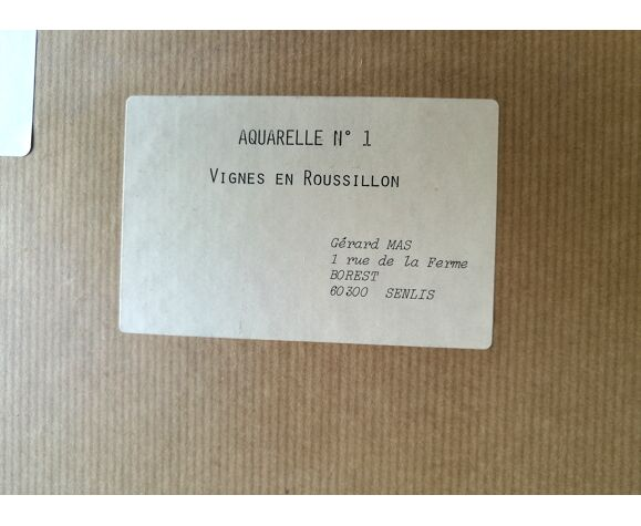 Tableau Paysage du Roussillon à l'aquarelle signé.