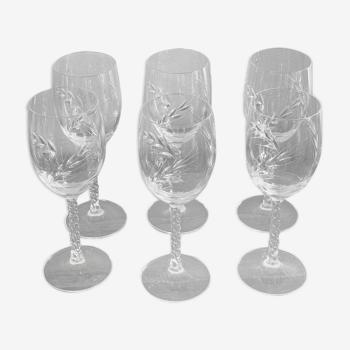 6 verres en cristal à pied motif épis de blé