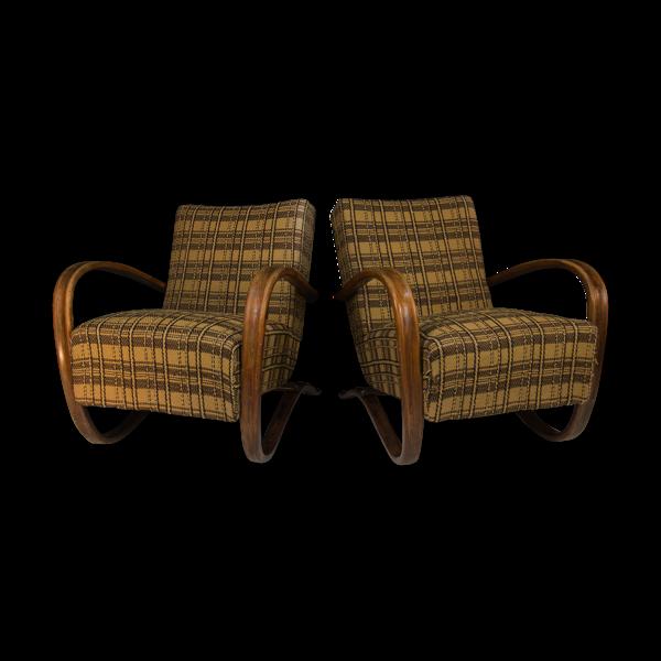 Selency Ensemble de deux fauteuils art déco H 269 de Jindrich Halabala, années 1940