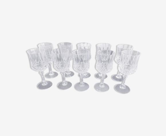 Lot de 10 verres à vin rouge Cristal d'Arques modèle Longchamp