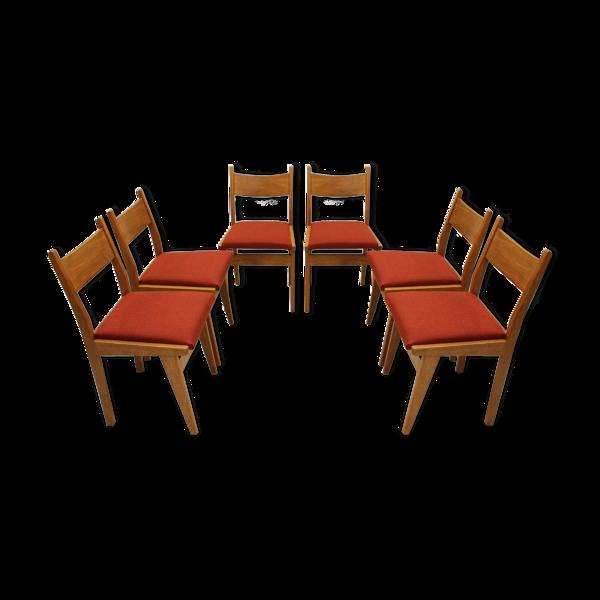 Ensemble de six chaises belges en chêne