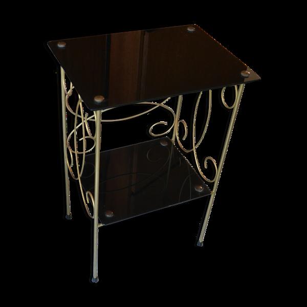 Table d'appoint sellette verre noir métal