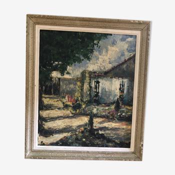Ancien tableau huile au couteau sur panneau avec cadre bois vintage