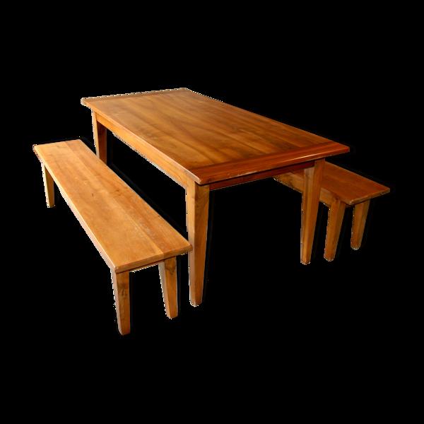 Table de ferme avec ses bancs assortis