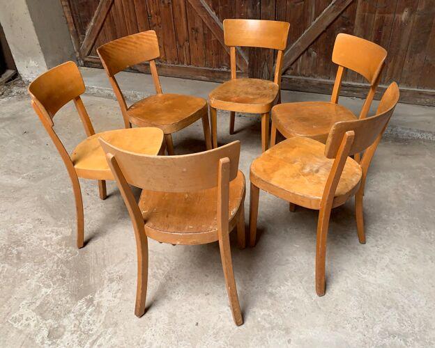 Série de 6 chaises bistrot bar café restaurant vintage en bois clair baumann luterma fischel 1960