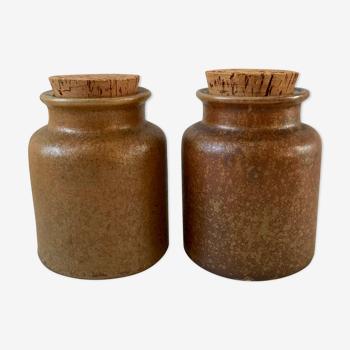 Duo de pots en grès vintage