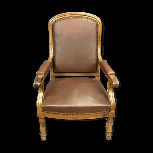 Fauteuil XIXème Restauration en merisier recouvert d'un simili cuir