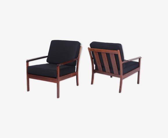 Paire de fauteuils danois de bois de rose