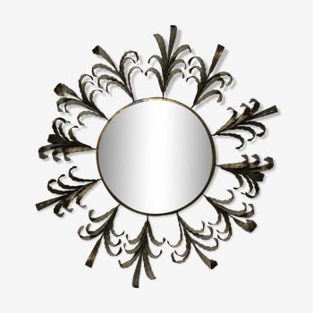 Miroir soleil bombé en métal doré, 77 cm