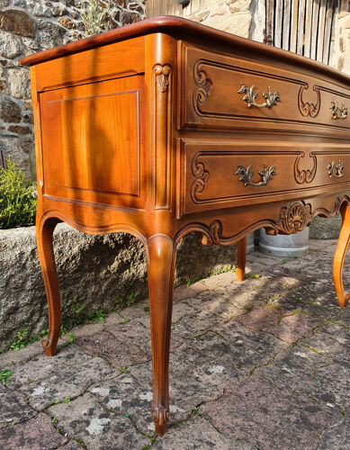 Commode sauteuse esprit Louis XV 2 tiroirs merisier, années 60