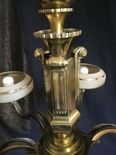 Lustre Art Déco en bronze 6 lumières