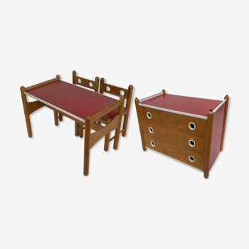 Vintage Italian Design chambre d'enfants ensemble chaises table et commode années 60