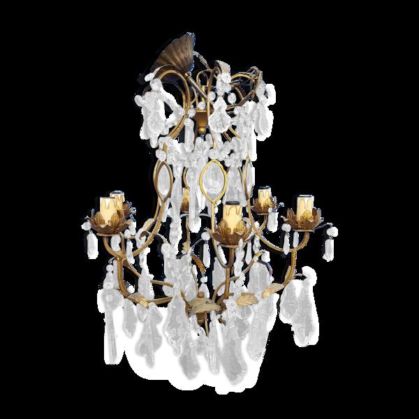 Lustre en fer avec des pampilles en cristal