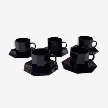 Octagonal black tea service octime Arcoroc
