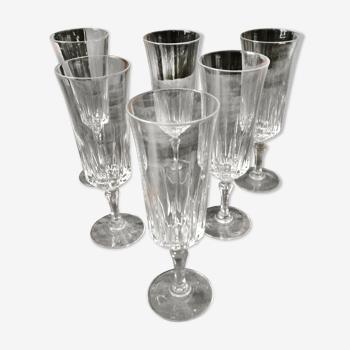 lot de 6 flûtes à champagne en cristal