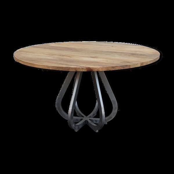 Table ronde en bois pied en métal