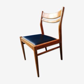 Chaise style scandinave teck et simili vintage 50 60 s
