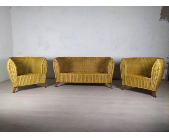 Canapé fauteuils rotin