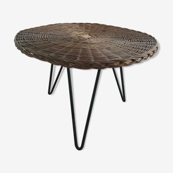 Table basse en rotin osier métal ronde vintage 1950/1960