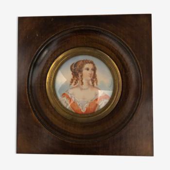 Miniature Napoléon III : portrait de femme