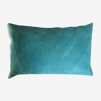 Coussin alcantara turquoise