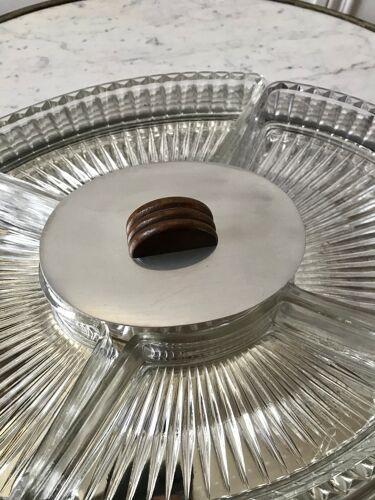 Plateau miroir art déco avec compartiments pour apéritif