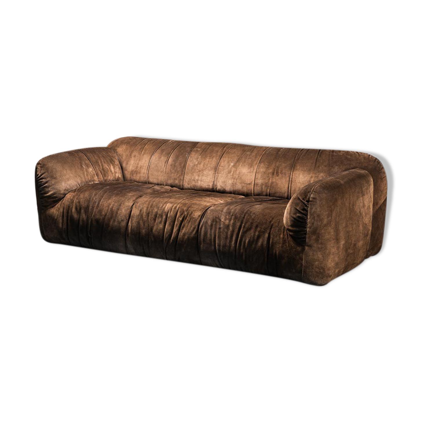 Canapé 3 places cuir daim des années 70
